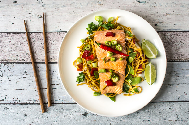 Thai salmon noodles