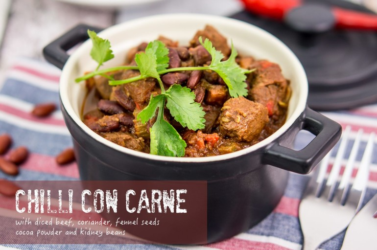 Chilli con carne with diced lean beef, kidney beans, cumin, coriander ...